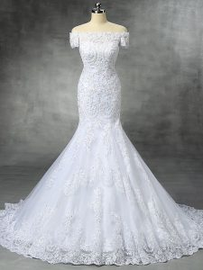Best Selling Off The Shoulder Sleeveless Brush Train Zipper Bridal Gown White Lace
