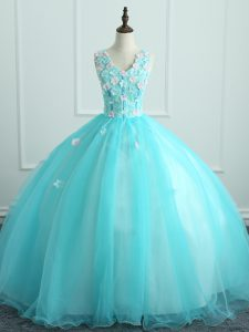 Aqua Blue Organza Lace Up V-neck Sleeveless Floor Length 15th Birthday Dress Appliques