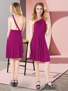 Fuchsia Sleeveless Ruching Mini Length Bridesmaid Gown