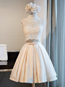 Mini Length A-line Sleeveless Champagne Homecoming Dress Lace Up
