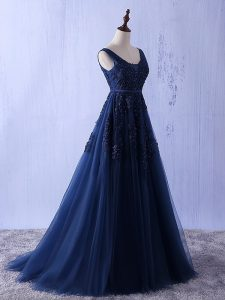 Navy Blue A-line Appliques Prom Dresses Lace Up Tulle Sleeveless Floor Length