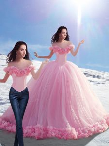 Sophisticated Off The Shoulder Sleeveless Brush Train Lace Up Ball Gown Prom Dress Baby Pink Tulle