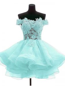 Aqua Blue Off The Shoulder Neckline Beading and Lace Junior Homecoming Dress Sleeveless Zipper
