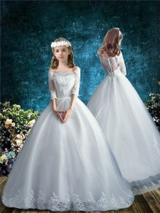 Low Price Tulle Half Sleeves Flower Girl Dresses Brush Train and Lace