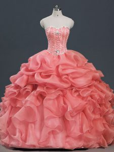 Watermelon Red Sweet 16 Dresses Sweet 16 and Quinceanera with Beading and Ruffles and Pick Ups Sweetheart Sleeveless Lace Up
