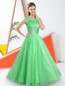 Romantic Green Backless Damas Dress Beading and Lace Sleeveless Floor Length
