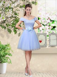 Elegant Cap Sleeves Knee Length Lace and Belt Lace Up Quinceanera Court Dresses with Lavender