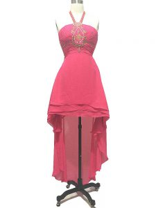Wonderful Hot Pink Halter Top Neckline Beading Homecoming Party Dress Sleeveless Backless