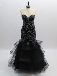 Flare Black Sweetheart Neckline Beading and Ruffles Prom Party Dress Sleeveless Zipper