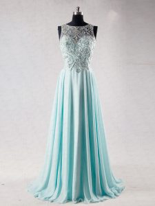 Scoop Sleeveless Chiffon Homecoming Dress Beading Brush Train Zipper