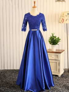Custom Fit Embroidery and Belt Pageant Gowns Blue Zipper Half Sleeves Floor Length
