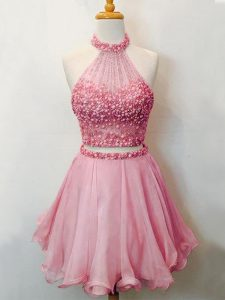 Superior Pink Organza Lace Up Damas Dress Sleeveless Knee Length Beading