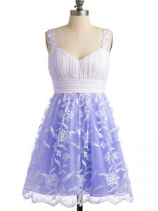High Class Lavender Sleeveless Lace Lace Up Vestidos de Damas for Prom and Party and Wedding Party