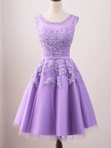 Knee Length Lavender Quinceanera Dama Dress Tulle Sleeveless Lace