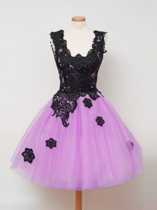Vintage Sleeveless Knee Length Appliques Zipper Quinceanera Dama Dress with Lilac