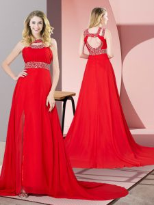 Red Prom Dress Scoop Sleeveless Brush Train Backless