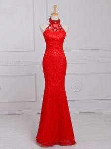 Red Sleeveless Lace Zipper Formal Evening Gowns for Prom and Military Ball and Sweet 16