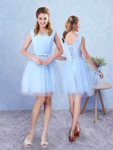 Sleeveless Tulle Knee Length Lace Up Damas Dress in Aqua Blue with Ruching