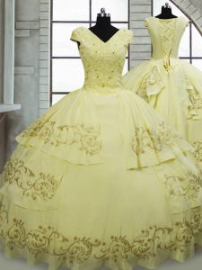 Super Light Yellow Satin and Chiffon Lace Up Quinceanera Dress Cap Sleeves Brush Train Beading and Embroidery