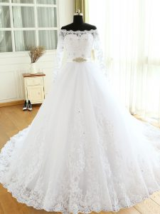 White Tulle Zipper Wedding Gowns Long Sleeves Court Train Beading and Lace and Appliques