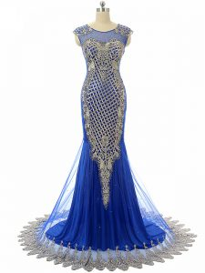 Royal Blue Evening Wear Tulle Sleeveless Beading and Lace and Appliques
