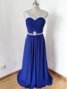 Lovely Royal Blue Zipper Scoop Beading and Ruching Prom Gown Chiffon Short Sleeves