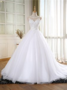 Dynamic Tulle Sleeveless Wedding Gown Court Train and Lace and Appliques