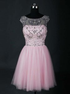 Baby Pink A-line Scoop Short Sleeves Tulle Mini Length Lace Up Beading Club Wear