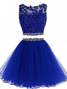 Discount Royal Blue Prom Evening Gown Prom and Party and Sweet 16 with Beading and Lace and Appliques Scoop Sleeveless Zipper