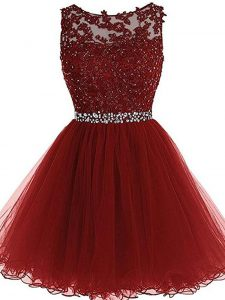 Admirable Sleeveless Tulle Mini Length Zipper in Burgundy with Beading and Lace and Appliques