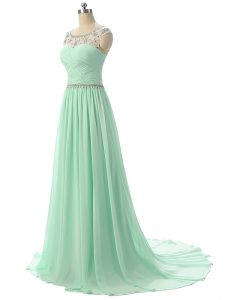 Scoop Sleeveless Brush Train Zipper Evening Dress Apple Green Chiffon