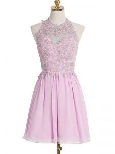 Adorable Chiffon Halter Top Sleeveless Lace Up Appliques Bridesmaid Dresses in Lilac