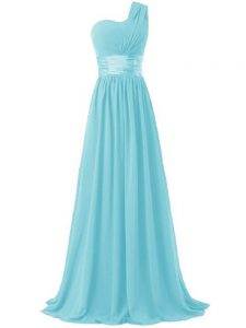 Fabulous Sleeveless Floor Length Ruching Lace Up Damas Dress with Aqua Blue