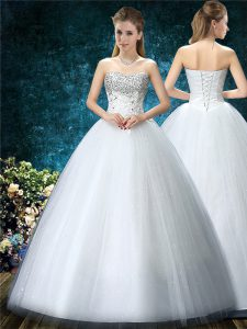 White Lace Up Sweetheart Beading and Embroidery Wedding Gown Tulle Sleeveless