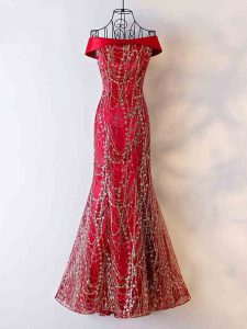 Delicate Sleeveless Floor Length Beading Lace Up Evening Wear with Wine Red