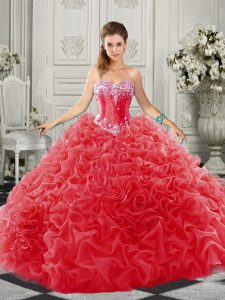 Organza Sweetheart Sleeveless Court Train Lace Up Beading and Ruffles Sweet 16 Dress in Red