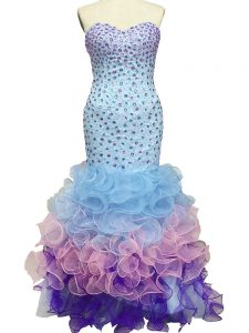 Luxurious Multi-color Sleeveless Beading and Ruffles Floor Length Pageant Dress for Teens