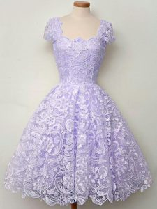 Best Sleeveless Knee Length Lace Lace Up Quinceanera Dama Dress with Lavender
