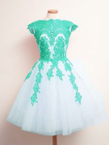 Traditional Scalloped Sleeveless Dama Dress for Quinceanera Mini Length Appliques Multi-color Tulle
