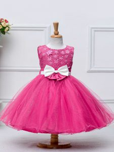 Perfect Hot Pink Ball Gowns Tulle Scoop Sleeveless Lace and Bowknot Knee Length Zipper Little Girls Pageant Gowns