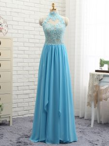 Amazing Baby Blue Sleeveless Chiffon Backless Homecoming Dress Online for Prom and Party