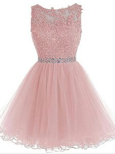 Custom Made Pink A-line Beading and Lace and Appliques Zipper Organza Sleeveless Mini Length