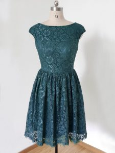 Chic Knee Length Teal Dama Dress Lace Cap Sleeves Lace