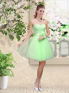 Sleeveless Knee Length Lace and Belt Lace Up Quinceanera Dama Dress
