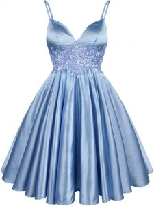 Fine Knee Length Light Blue Bridesmaid Dress Spaghetti Straps Sleeveless Lace Up