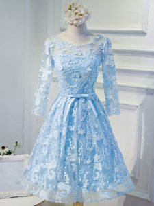 Long Sleeves Organza Mini Length Lace Up Cocktail Dresses in Light Blue with Beading and Appliques