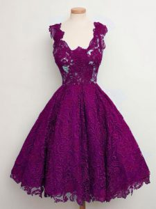 Graceful Purple Straps Lace Up Lace Court Dresses for Sweet 16 Sleeveless