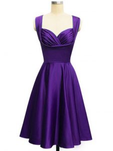 Straps Sleeveless Lace Up Dama Dress for Quinceanera Purple Taffeta