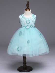 Dynamic Apple Green Zipper Teens Party Dress Appliques and Bowknot Sleeveless Knee Length