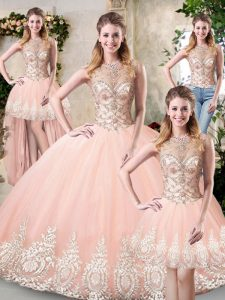 Peach High-neck Neckline Beading and Lace and Appliques Quinceanera Gown Sleeveless Backless